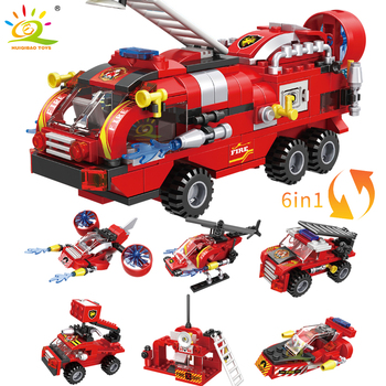 HUIQIBAO 387pcs 6in1 Fire Fighting Trucks Car Helicopter Boat Building Blocks City Firefighter Firemen Figures Bricks Toys Child 3