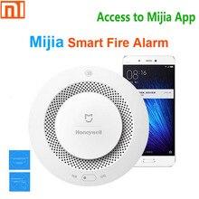 Original xiaomi mijia honeywell detector de alarme incêndio sonoro visual sensor fumaça remoto mihome app controle inteligente monitor segurança