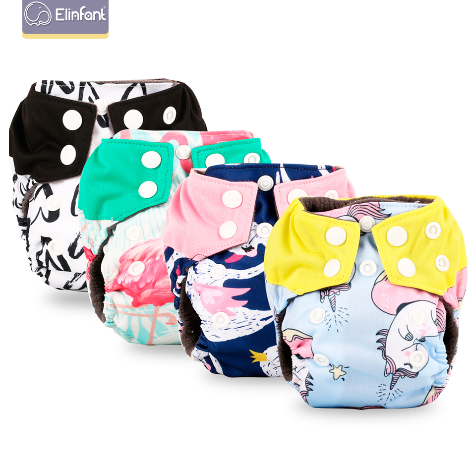 Elinfant Newborn Baby Bamboo Charcoal Aio Cloth Diaper Nappy With Belly Button Fit 0-3month ,