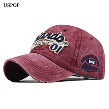 USPOP 2019 women men washable denim baseball caps Orlando letter embroidered cap cotton hats unisex visor