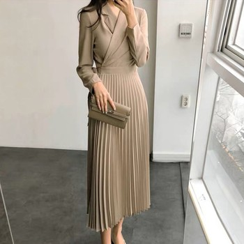 Women's Fashion Solid Long Sleeve Party Dress Women V-Neck Maxi Dress Office Lady dresses robe femme women bandage elegant shirt dress new v neck long sleeve office lady fashion tide spring autumn dresses