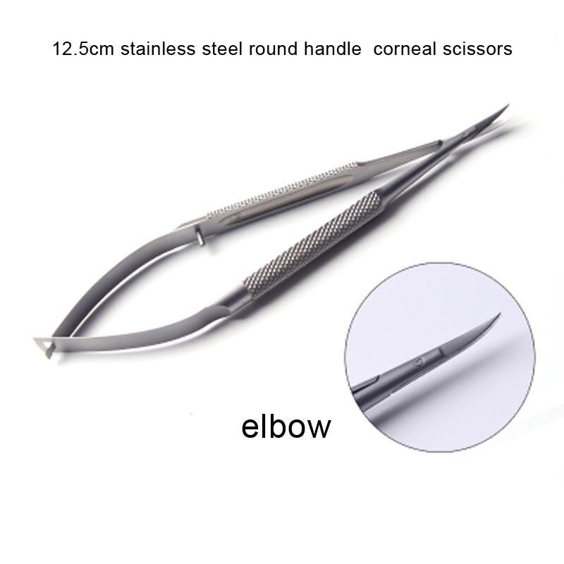 Tesoura redonda de aço inoxidável da córnea do cotovelo do punho de 12.5cm micro tesoura com punho redondo