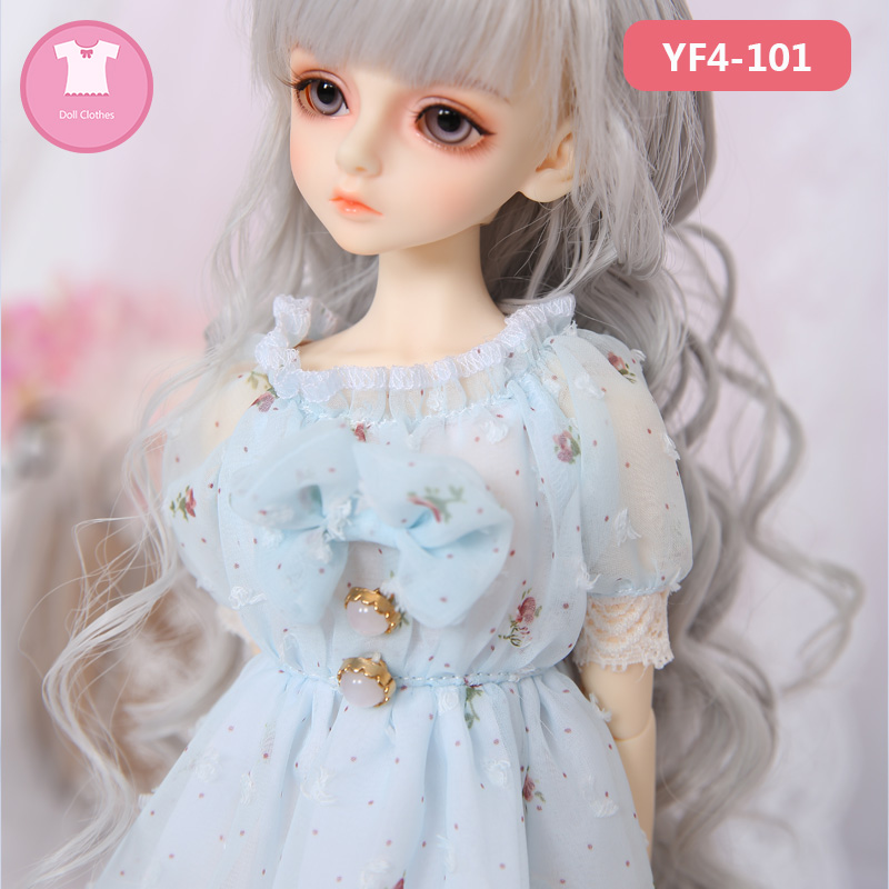 BJD SD Doll Clothes 1/4 Pure Rural Wind Dress Thin Skirts For Minifee Or MSD Body YF4-101 Doll Accessories  Luodoll