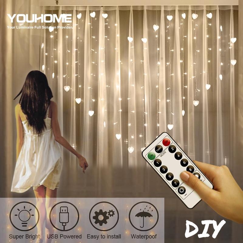 2x1.5m Heart LED Curtain String US EU Plug Remote Control Fairy Light Garland Bedroom Wedding Home Decorative Holiday Lights