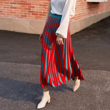 2019 Spring and Autumn High Elastic Waist Red Knitting Skirt Ladies Pleated Temperament Half-body Skirt Women Fashion Tide New(China)