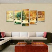 Modern Abstract Huge Large Paintings Wallpaper Oil Painting Art 5P Season Tree Framed Wall Papers Home Decor No Canvas