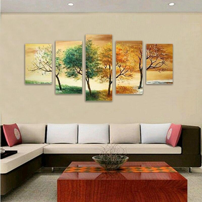 Moderne abstrait énorme grandes peintures papier peint peinture à l'huile Art 5P saison arbre encadré papiers peints décor à la maison pas de toile