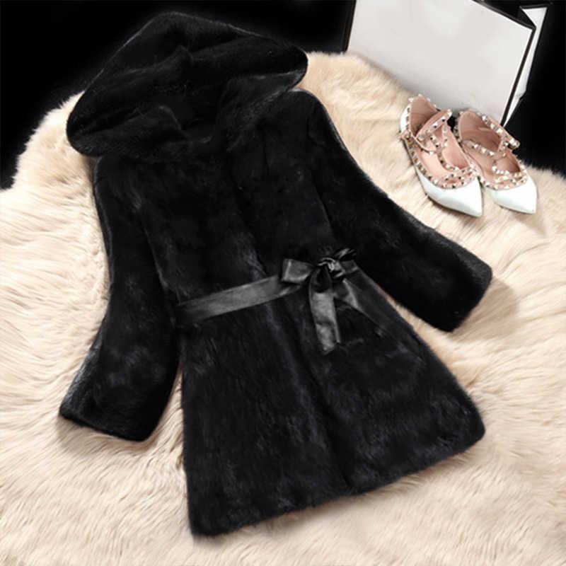 Womens Long plush coat Faux Fur Trim Hood Long Parka Coat Autumn winter coat UK