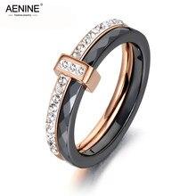 AENINE moda czarny/biały ceramiczne kryształowe obrączki biżuteria dla kobiet dziewczyn różowe złoto stal nierdzewna Bohemia pierścień AR18054