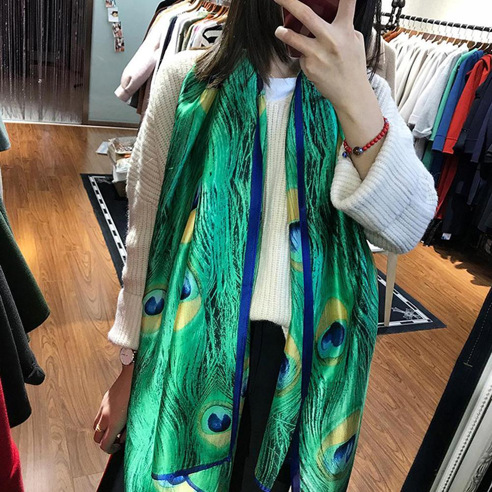 180cm Green Peacock Feather Silk Shawl Scarf Spain Animal Beach Caps Bandanas Brand Foulard Hijab Lovely Luxury New Wrap Ar C1K9