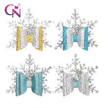 CN 8 шт./лот блестящие рождественские банты для волос с зажимами для девочек детские двухслойные заколки-снежинки вечерние рождественские аксессуары для волос