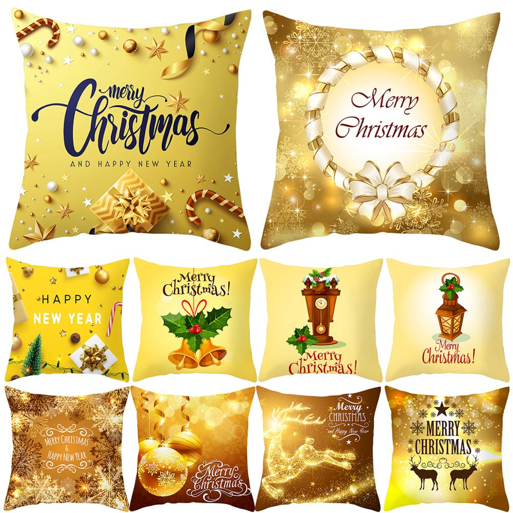 QIFU 45x45cm Merry Christmas Cushion Cover Gold Decorative Home Sofa Living Room Pillowcase Happy New Year Gifts