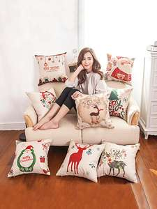 MIHE Christmas Decorations Home Cotton Linen Cushion Cover 45*45cm Decoratives Cushions