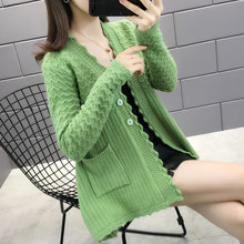 3793 - make pure color wave grain edition knitting cardigan 50 A(China)