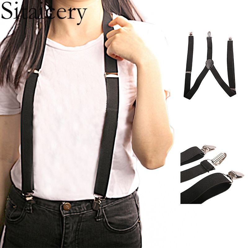 Fashion Elastic Suspender Y-Back Black Women Mens Students DIY Pants Accessories Clip-on Braces Suspenders Jeans Trousers