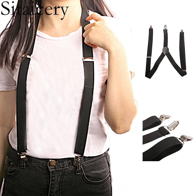 Fashion Elastic Suspender Y-Back Black Women Mens Students DIY Pants Accessories Clip-on Braces Suspenders Jeans Trousers