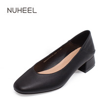 NUHEEL women's shoes new spring classic retro style high heels shallow mouth thick heel solid color shoes women туфли