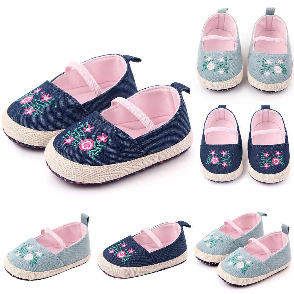 รองเท้าเด็กใหม่แฟชั่นผ้าใบแถบยืดหยุ่นสบายดอกไม้รองเท้า First Walkers แพลตฟอร์มรองเท้าเด็กเด็ก Schuhe