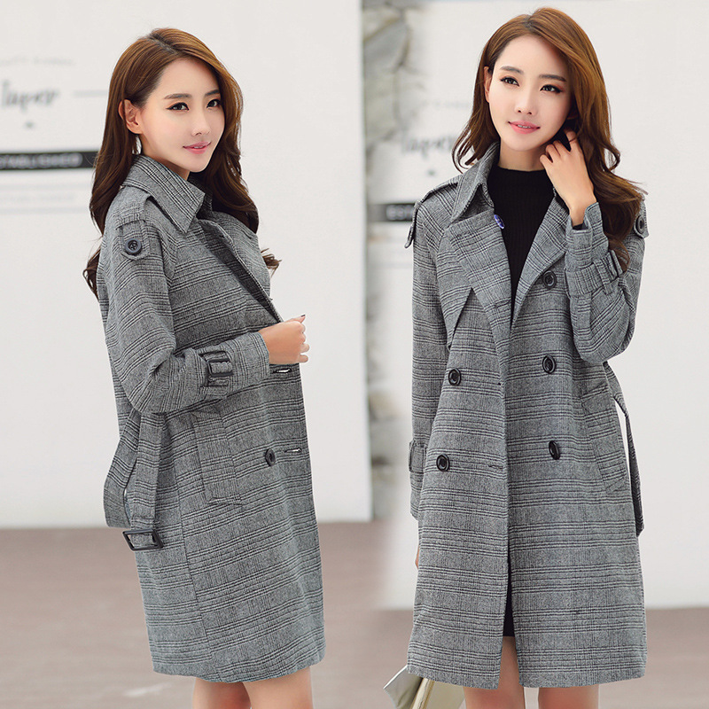 Casaco Feminino Trench Coat Women Plus Size Casual Korean Style Windbreaker Outcoat Double Breasted Abrigo Mujer KJ138