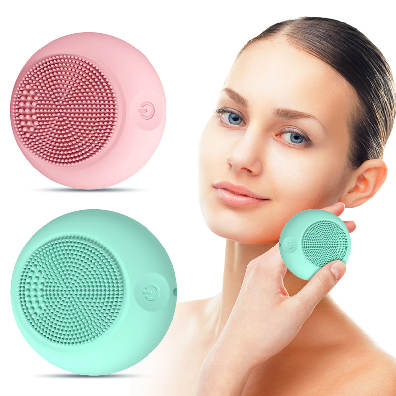 2020 NEW Silicone Face Cleansing Brush Mini Electric Massage Waterproof Facial Cleansing Tool Deep Face Pore Cleanser Brush