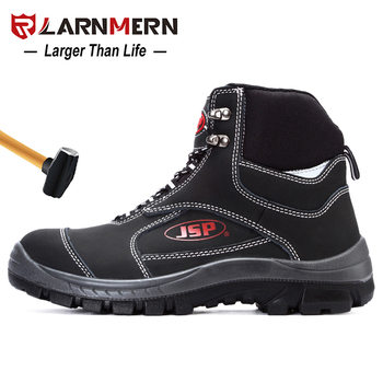 LARNMERN Mens Work Shoes Steel Toe Safety Shoes Comfortable Anti-smashing Non-slip Construction Protective Footwear