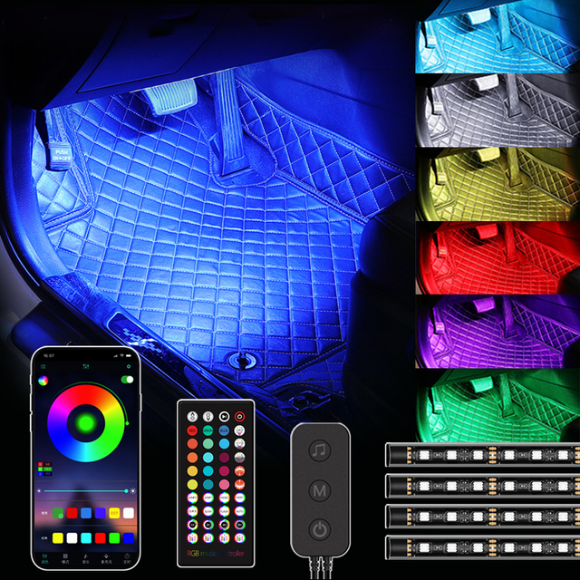 48 72 LED wnętrza samochodu oświetlenie taśmy USB pilot aplikacji sterowania lampy otoczenia wielu DIY tryby pod Dash dekoracyjne światła tanie i dobre opinie Niscarda Rohs CN (pochodzenie) Klimatyczna lampa Car Interior ABS+Silica gel+other 4pcs set 180 Degree emitting 5V 12V 4*12LED 4*18LED