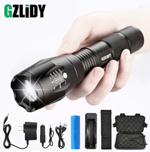 Super Bright LED Tactical Flashlight 5 Modes T6 / L2 V6 Waterproof Torch Zoom Camping Light Using 18650 Battery with Gifts
