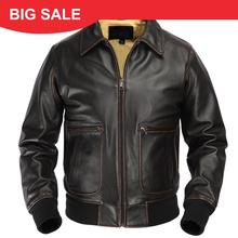 2020 Vintage Brown UASF Pilot Leather Jacket Plus Size XXXL Genuine Cowhide Spring Military Aviator Leather CoatFREE SHIPPING
