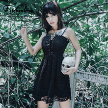 Fitshinling Goth Dark Lace Strap Dress Women Clothing 2019 Up A Line Black Short Dresses Harajuku Sleeveless Sexy Vestidos