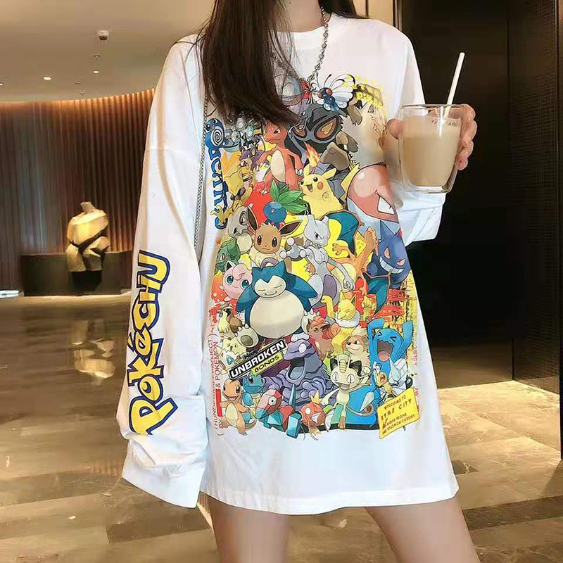 Cartoon Pokemon Tshirts Women Summer Tops Long Sleeve Harajuku Tee Shirt Pikachu Print Shirts Plus Size Loose Streetwear V716
