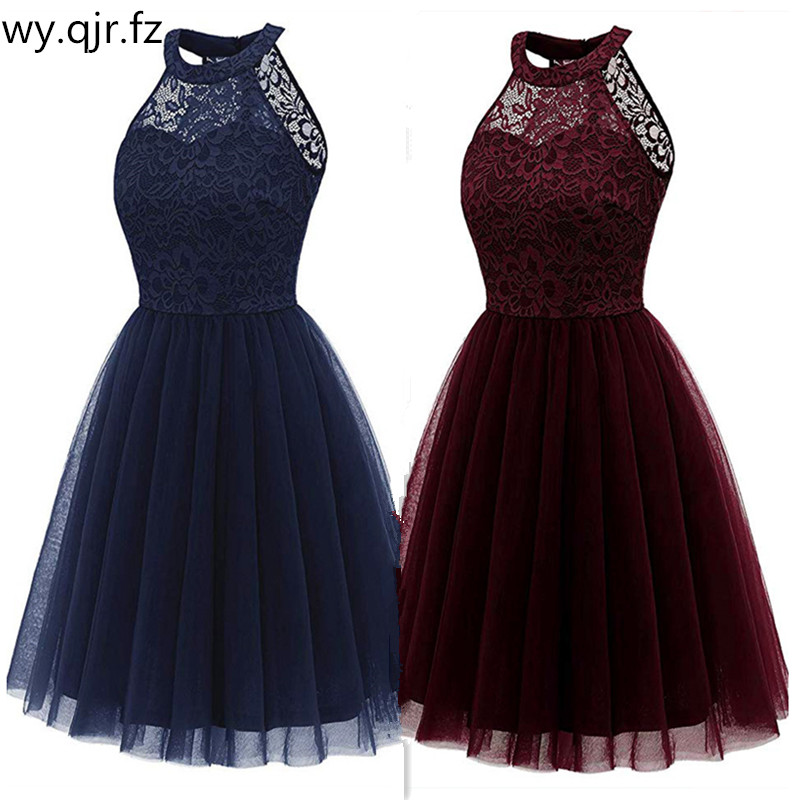 OML-539#Evening dresses short purple dark blue pink etc wedding party prom dress yarn lace graduation gown Girls wholesale dress
