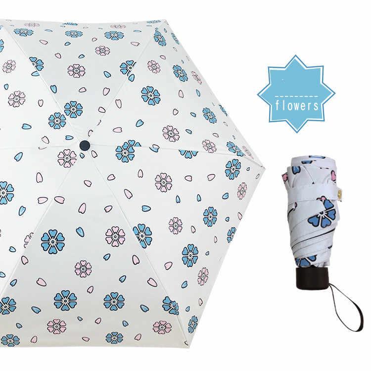 Lipat 5 Payung Portable Tabir Surya Bunga Parasol Payung Saku Mini Payung Hujan Wanita Tahan Angin Tahan Lama