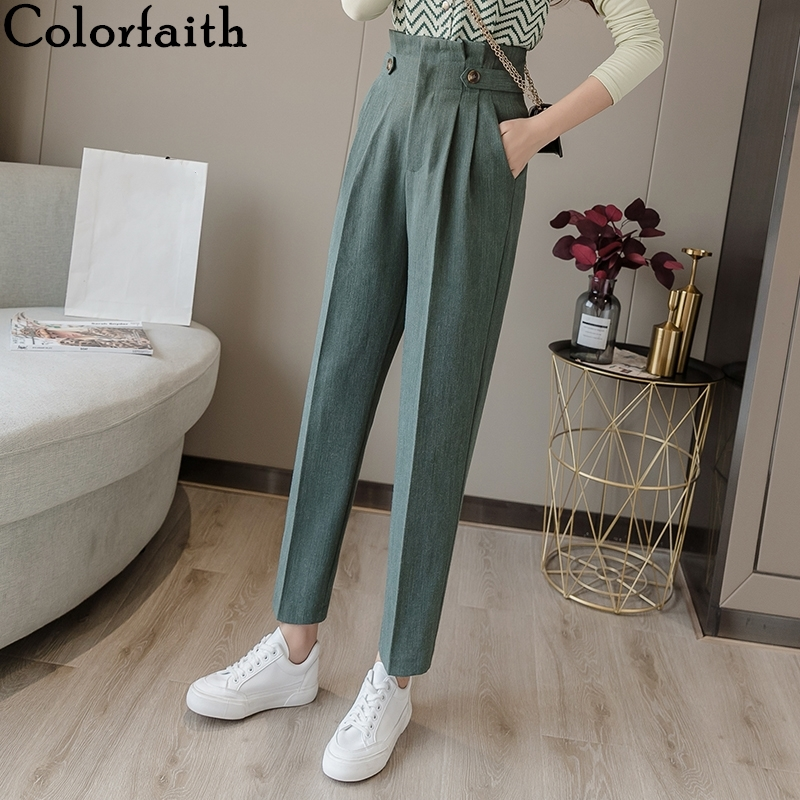 Colorfaith 2019 Autumn Winter Women Pants High Waist Casual Pockets Wild Fashionable Fold Office Lady Suit Female Trousers P7231