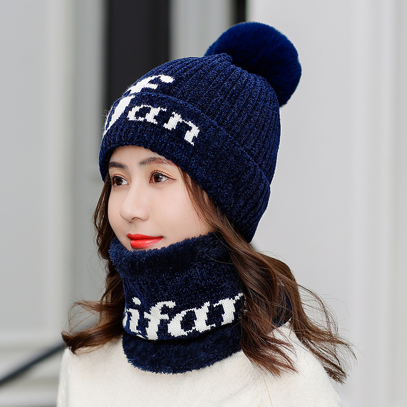 DeePom Winter Hat Scarf Set Women 7 Color Knitting Hat Scarf Set Warm Wool Cap Scarves Winter Outdoor Accessories Ear Protect