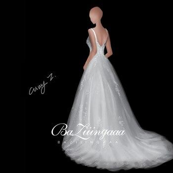BAZIIINGAAA Luxury Wedding 2020 Lace Wedding Dress Handmade Custom Accept Drawing Wedding Dress Phot