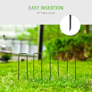 Image 3 - AMKOY 50 pcs U Shape Gauge Galvanized Steel Garden Stakes Staple Securing Pegs For Securing Weed Fabric Landscape Fabric Netting