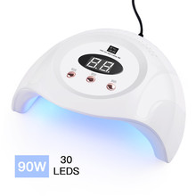 LED UV 90W Nail Dryer Curing Gel Polish Lamp Light Curing Manicure Machine Nail drying Gel varnish 10/30/60 / 99s timer sensor new curing gel polish nail dryer 48w sun uv led lamps nail polish dryer light auto motion drier curing gel timer manicure hb88