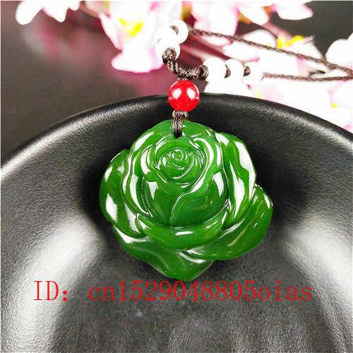 Alam Hijau Cina Jade Rose Liontin Kalung Fashion Aksesoris Pesona Perhiasan Ukiran Amulet Hadiah untuk Wanita Pria