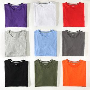 Free Ship T-Shirts Men Women 100% Cotton Summer Short Solid Male Female Basic Tshirts Plain Round Neck Plus Size 5XL Tees shirt(China)