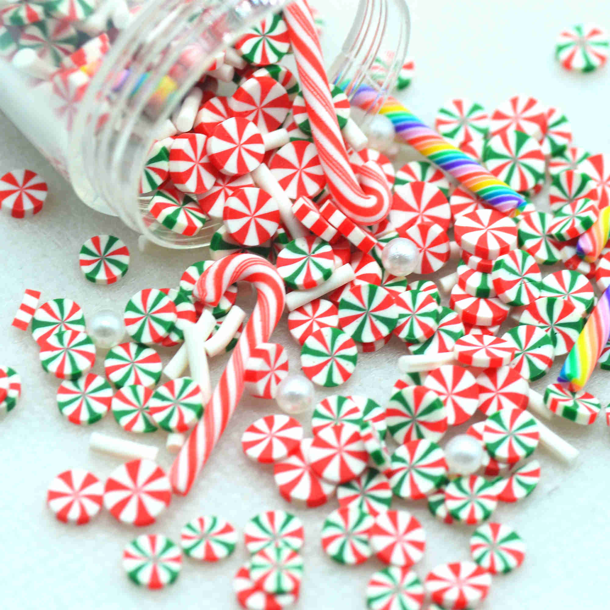 20g Christmas Color Decoration Sprinkles,Polymer Clay Mixed Party Decoration Confetti-Slime Playing Supplements-Not Edible