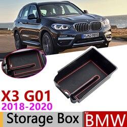 Dla BMW X3 G01 X3M xDrive 20i 20d 2018 2019 2020 podłokietnik centralny pudełko do przechowywania rozmieszczenie Tidying samochodu organizer akcesoria w Naklejki samochodowe od Samochody i motocykle na