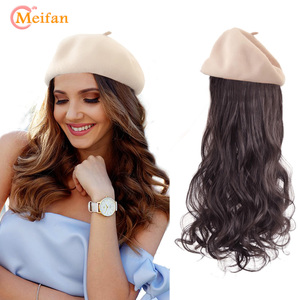 MEIFAN Synthetic Long Wavy Wigs with Beret Hat Fashion New Autumn Winter Cap Hair Wig Hair Extensions