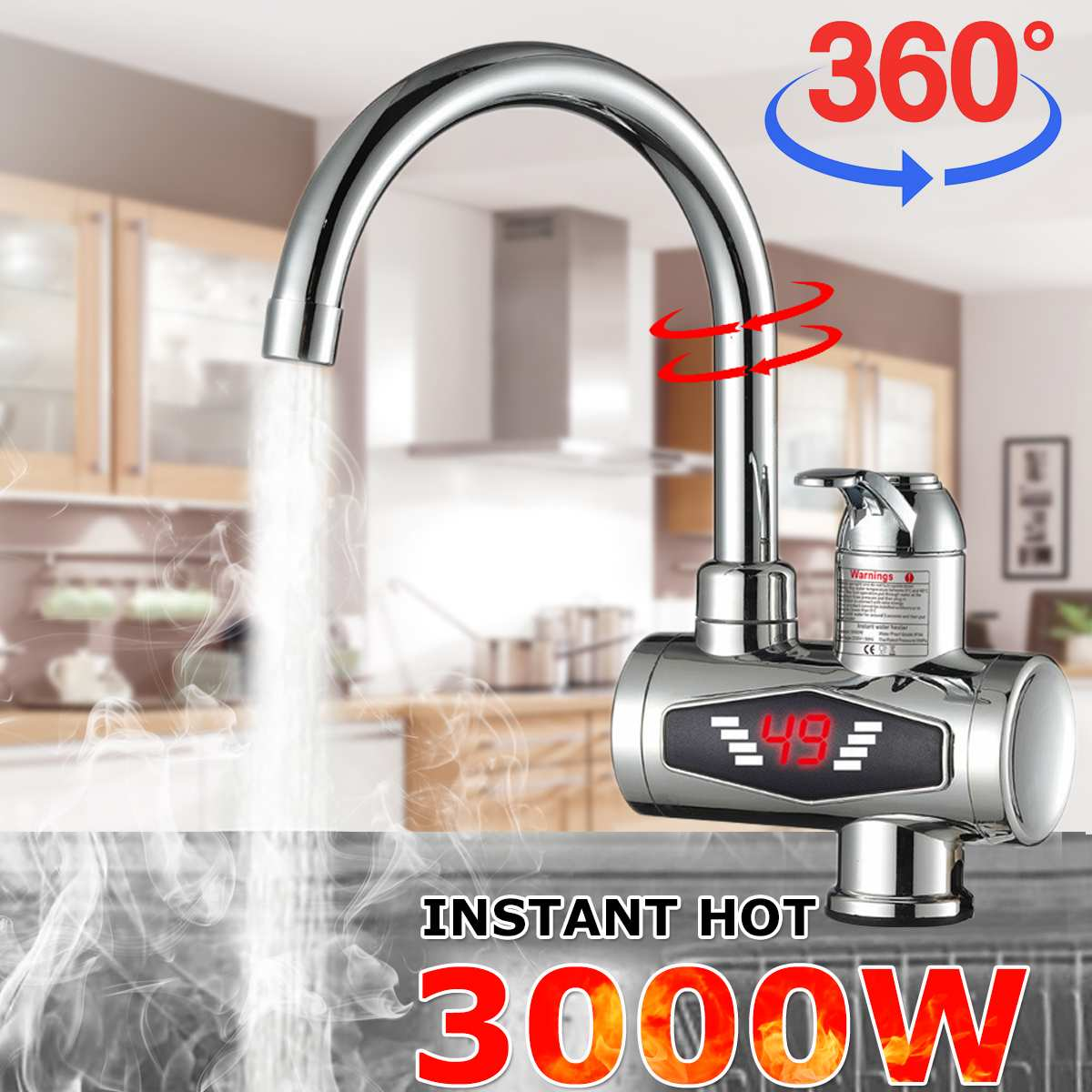 Instant Tankless Electric Hot Water Heater Faucet Kitchen 360° Rotatable Heating Tap Water Heater With LED Temperature Display