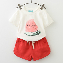 New Girls Clothing Sets Summer Casual Style Fashion Watermelon Print Design Short Sleeve + Pants 2Pcs Kids 40