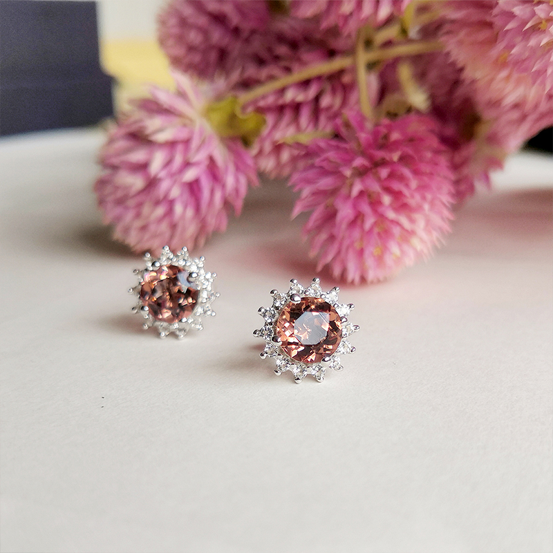 Sultanite Sterling Silver Stud Earrings for Women 2 Carats Created Diaspore Sterling Silver Earrings Classic Romantic Style