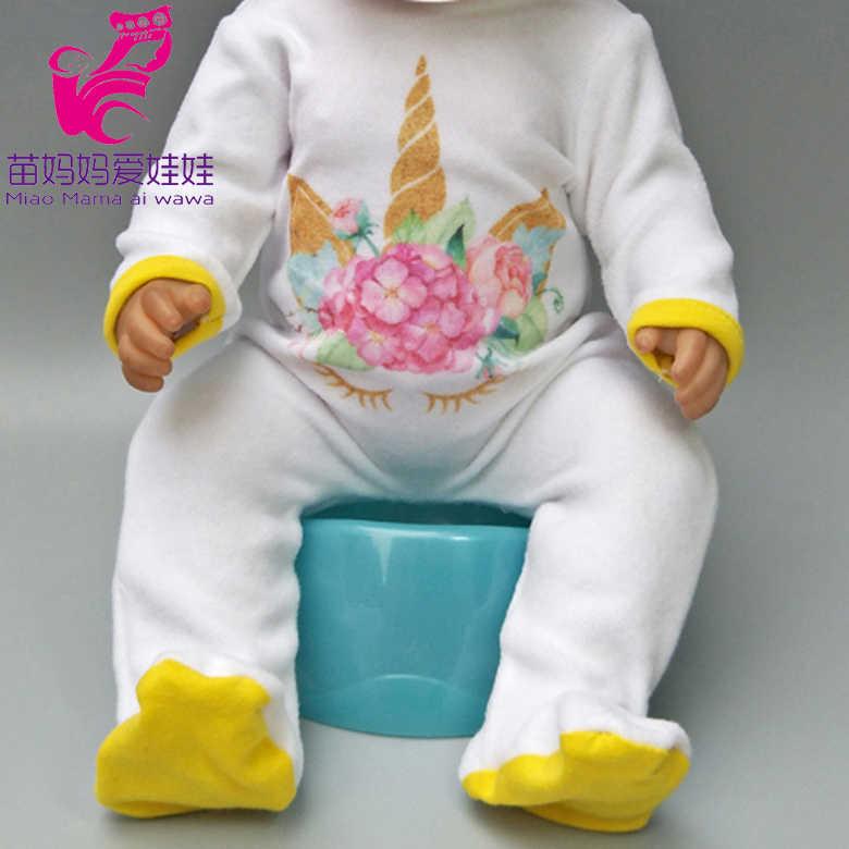 """43 センチメートルベビードールの服ユニコーンセット服のため 17 """"ベビー新生児人形コート子供人形ロンパース服"""