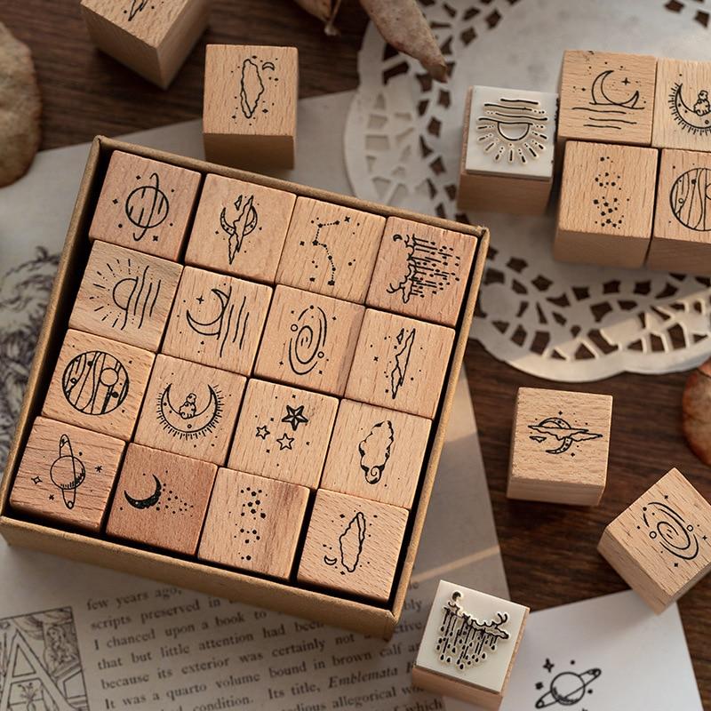 16 Pcs/Lot Vintage Planet Moon Cloud Decoration Stamp Wooden Rubber Stamps for Scrapbooking Stationery DIY Craft Standard Stamp 1
