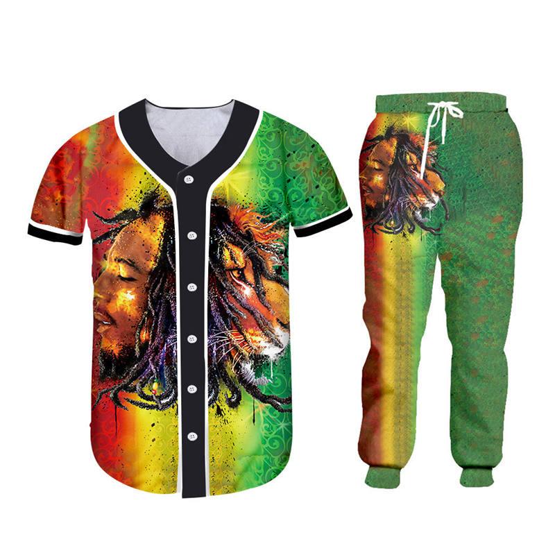 Fashion Men's Sets Streetwear 3d Bob Marley Lion Print T-shirt+Sweatpants 2 Pieces Sets Unisex Zipper Hoodie Jacket Custom S-6XL