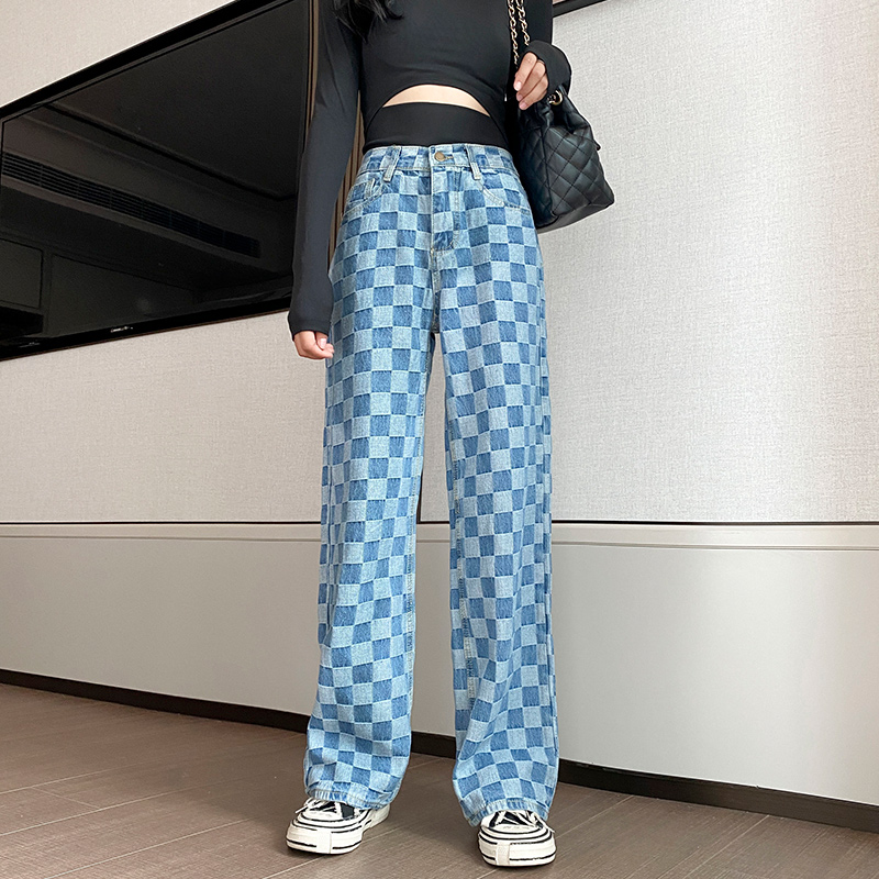 Blue Plaid Jeans For Women Summer High Waist Wide Sexy Denim Loose Ladies Oversized Jeans Pants