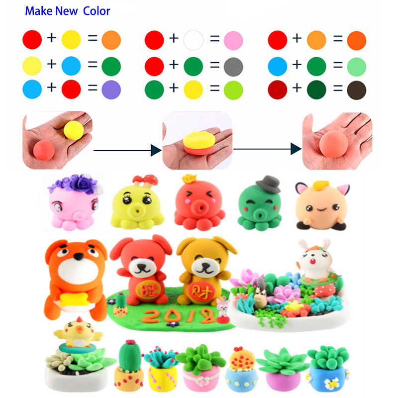24 Colors x20g Oven Baking Fimo Polymer Clay Modeling Clay Floam  Slime Toys Fluffy Slime Box Light Plasticine for Children DIY